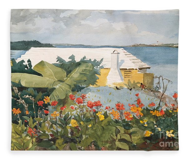 Flower Garden And Bungalow, Bermuda, 1899  Fleece Blanket