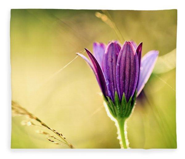 Flower On Summer Meadow Fleece Blanket