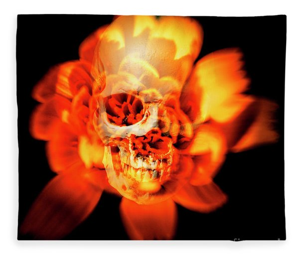 Flower Skull Fleece Blanket