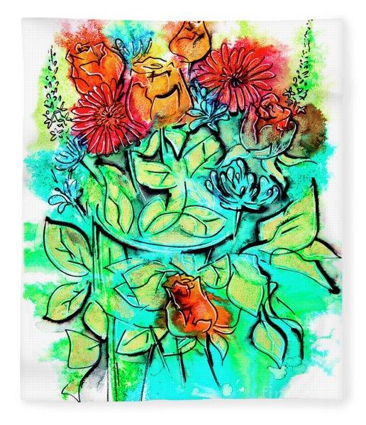 Flowers Bouquet, Illustration Fleece Blanket
