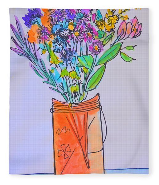 Flowers In An Orange Mason Jar Fleece Blanket
