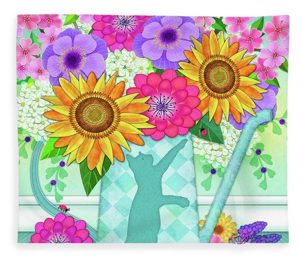 Flowers In Watering Can Fleece Blanket