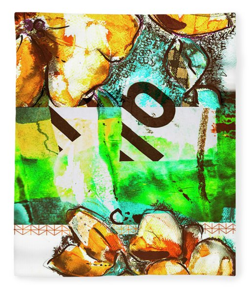 Flowers On Paper,  Collage And Acrylic Fleece Blanket