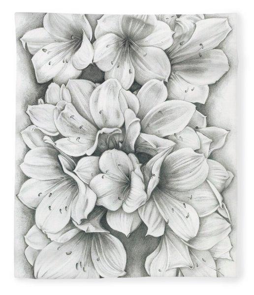 Clivia Flowers Pencil Fleece Blanket