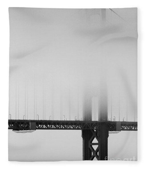 Fog At The Golden Gate Bridge 4 - Black And White Fleece Blanket