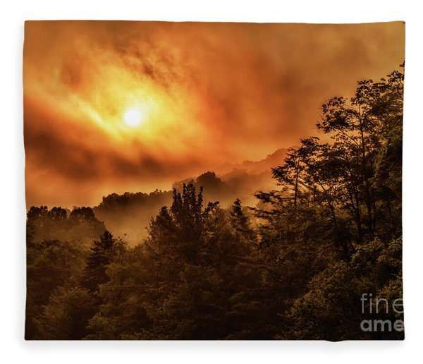 Foggy Sunrise Monongahela National Forest Fleece Blanket