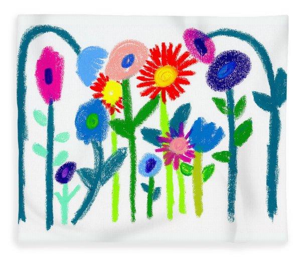 Fleece Blanket featuring the pastel Folk Garden by Bee-Bee Deigner