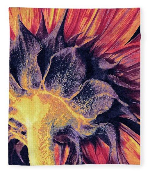 Fleece Blanket featuring the mixed media Follow The Sun by Susan Maxwell Schmidt