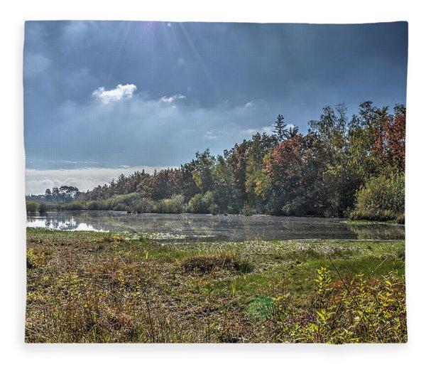 Forest Lake In Autumn Fleece Blanket
