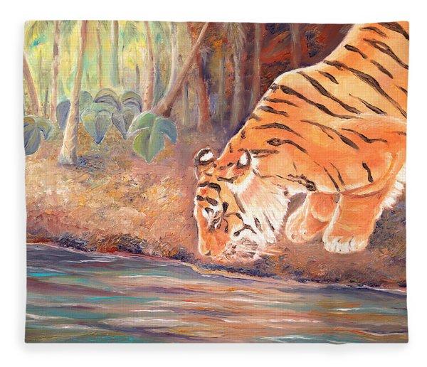 Forest Tiger Fleece Blanket