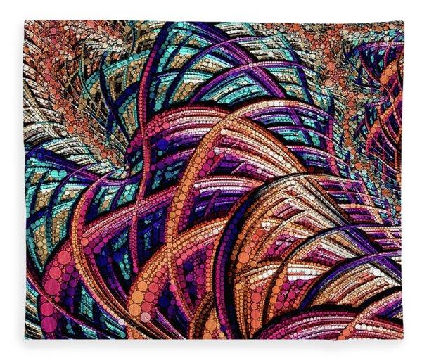 Fleece Blanket featuring the digital art Fractal Farrago by Susan Maxwell Schmidt