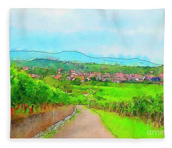 France Landscape Fleece Blanket