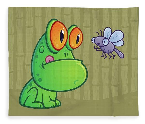 Frog And Dragonfly Fleece Blanket