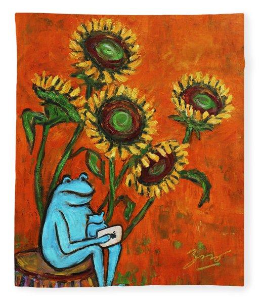 Frog I Padding Amongst Sunflowers Fleece Blanket