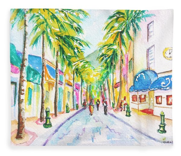Front Street Philipsburg St. Maarten  Fleece Blanket