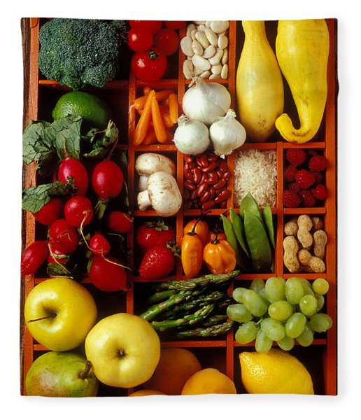 Fruits And Vegetables In Compartments Fleece Blanket