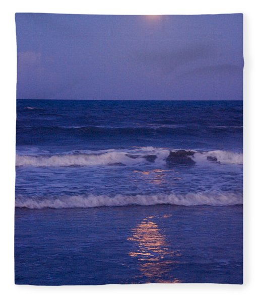 Full Moon Over The Ocean Fleece Blanket