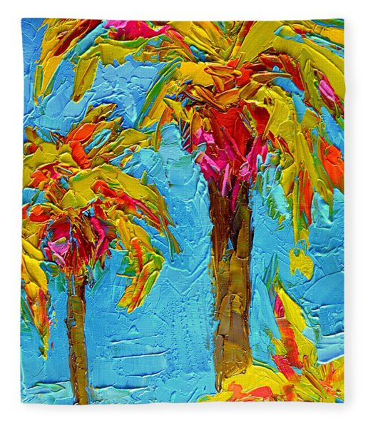 Funky Fun Palm Trees - Modern Impressionist Knife Palette Oil Painting Fleece Blanket