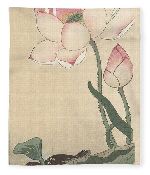 Gallinule With Lotus Flowers, Ohara Koson, 1900 - 1930 Fleece Blanket