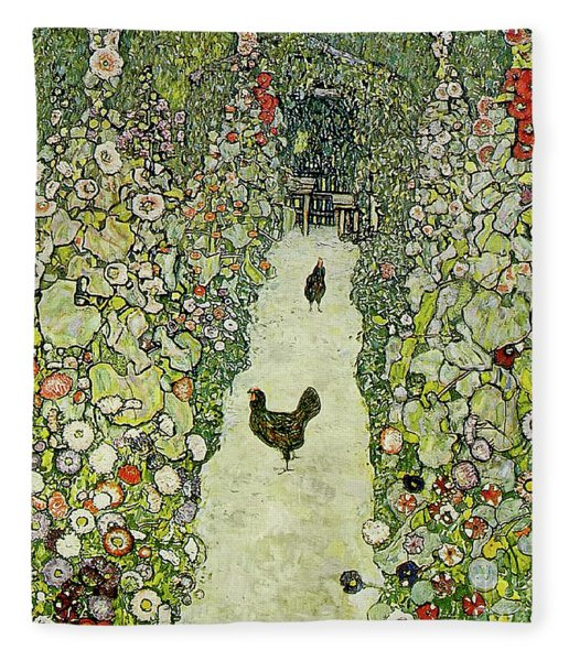 Garden With Chickens Fleece Blanket