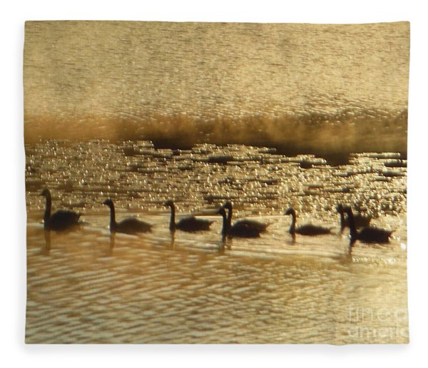 Geese On Golden Pond Fleece Blanket