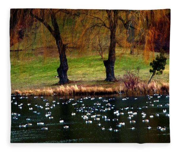 Geese Weeping Willows Fleece Blanket