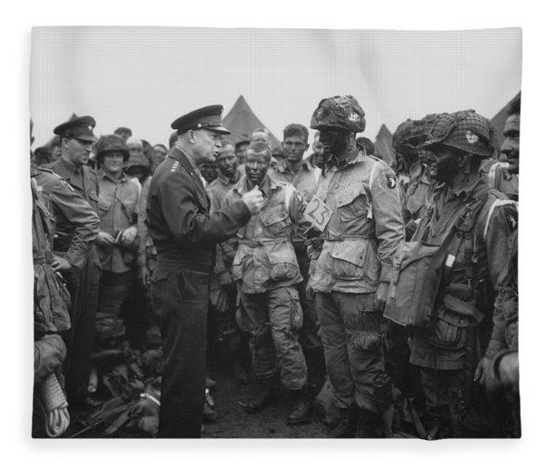 General Eisenhower On D-day  Fleece Blanket
