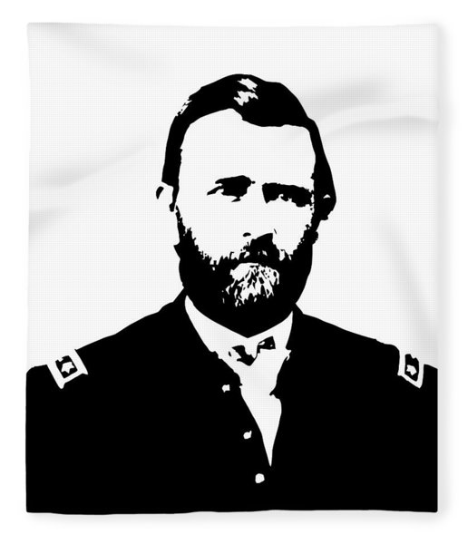 General Grant Black And White  Fleece Blanket