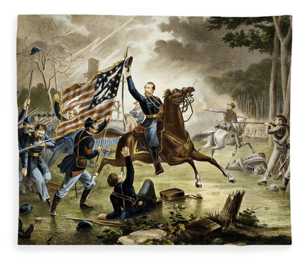 General Kearney's Gallant Charge At The Battle Of Chantilly Fleece Blanket