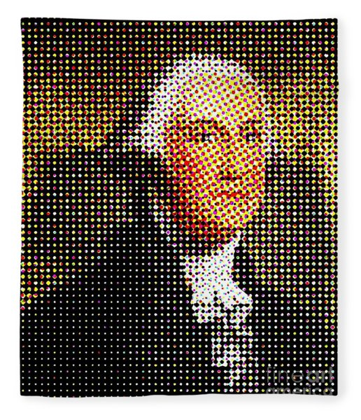 George Washington In Dots  Fleece Blanket