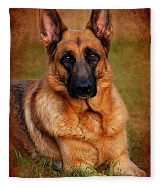 German Shepherd Dog Portrait  Fleece Blanket