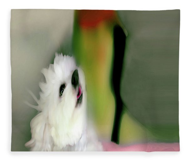 Girl And Puppy Painting  6 Fleece Blanket