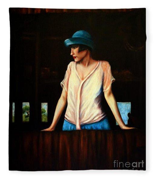 Girl In A Barn Fleece Blanket