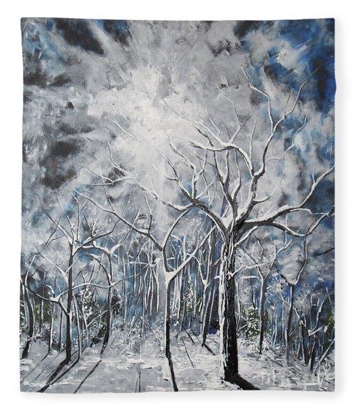 Girl In The Woods Fleece Blanket