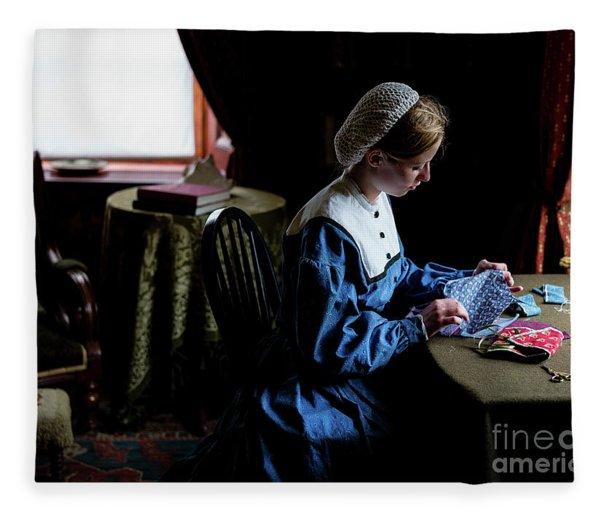 Girl Sewing Fleece Blanket