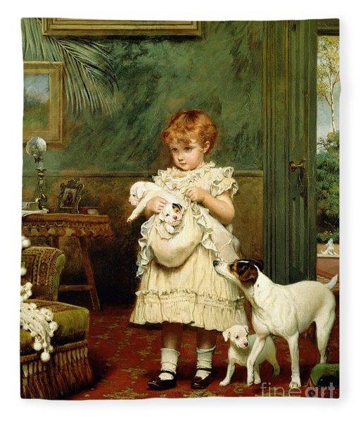Girl With Dogs Fleece Blanket
