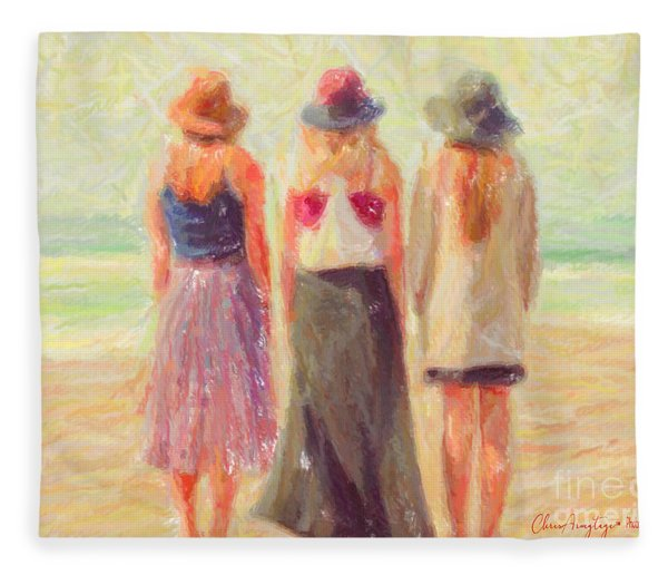 Girlfriends At The Beach Fleece Blanket