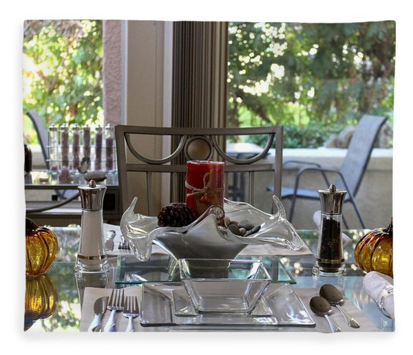Giving Thanks In California Thanksgiving Table Fleece Blanket