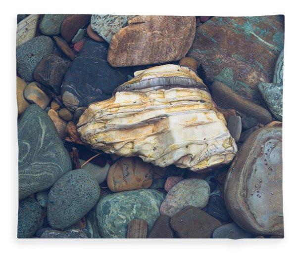 Glacier Park Creek Stones Submerged Fleece Blanket