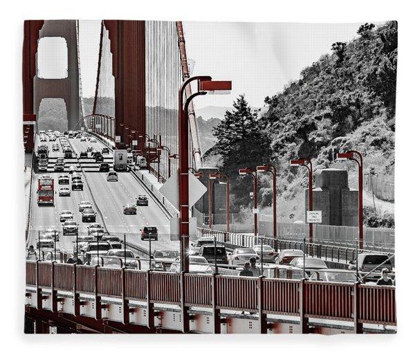 Golden Gate Bridge Street View Fleece Blanket