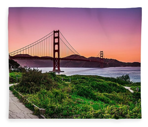 Fleece Blanket featuring the photograph Golden Gate Bridge San Francisco California At Sunset by Alex Grichenko