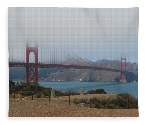Golden Gate In The Clouds Fleece Blanket