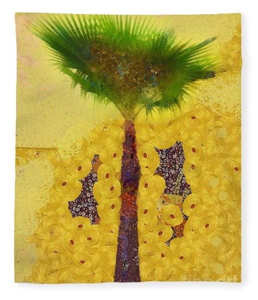 Golden Palm Tree Fleece Blanket