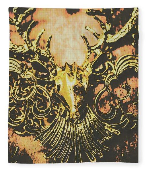 Golden Stag Fleece Blanket