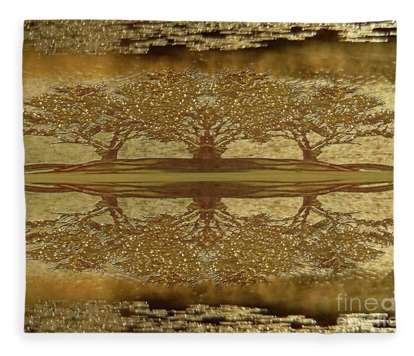 Golden Trees Reflection Fleece Blanket