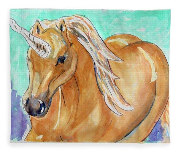 Golden Unicorn Fleece Blanket