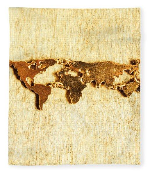 Golden World Continents Fleece Blanket