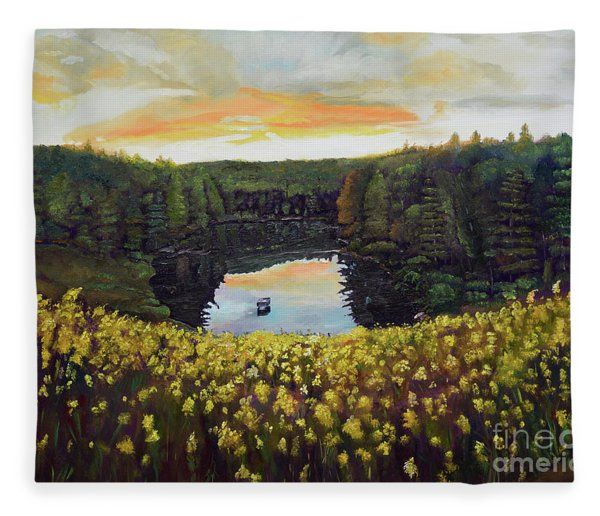 Goldenrods On Davenport Lake-ellijay, Ga  Fleece Blanket