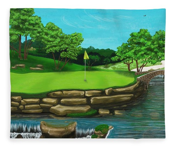 Golf Green Hole 16 Fleece Blanket
