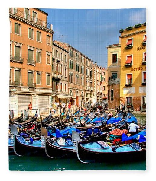 Gondolas In The Square Fleece Blanket